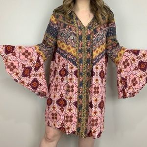 Daydream Believer Bell Sleeve Dress 1X Umgee Pink